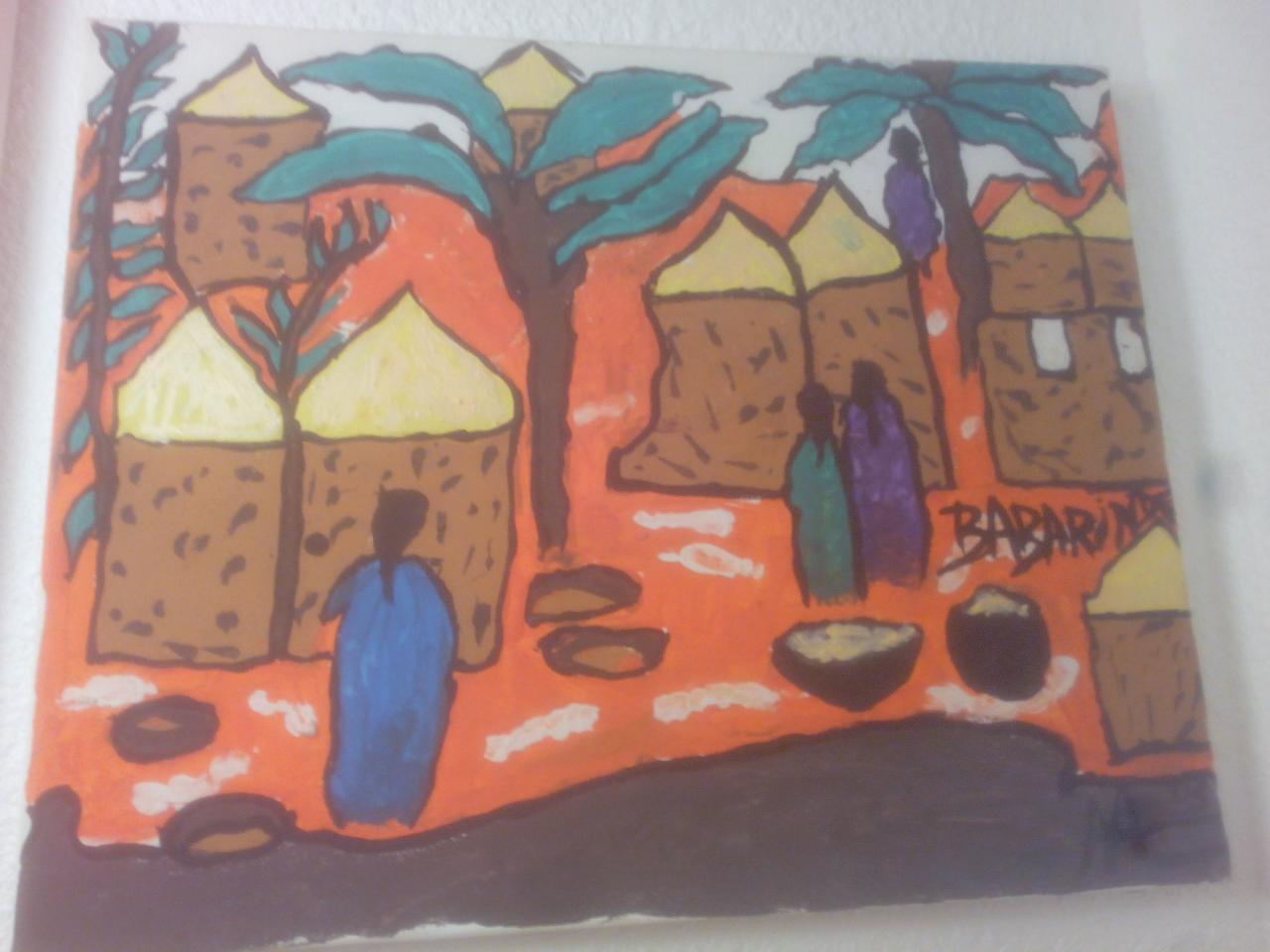 Un village africain/ AN AFRICAN VILLAGE(40cm-30cm)