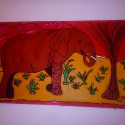 Tableau Eléphant, la force tranquille / Drawing, Elephant the quiet strength