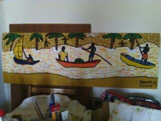 Naviguons sur le fleuve des souvenirs/ Navigate on the river of memories(40cm-30cm).